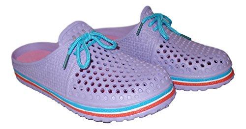 101 BEACH Ladies 2 Tone Clogs with Laces Lavender