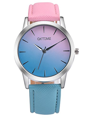 Womens Quartz Watches,COOKI Rainbow Design Unique Analog Fashion Clearance Lady Watches Female Watches on Sale Casual Wrist Watches for Women,Round Dial Case Comfortable Faux Leather-H15 (Pink)