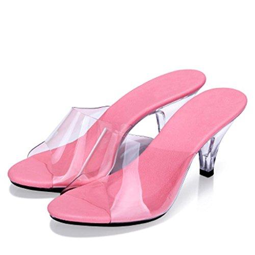Plein Lieu Bal Pantoufles Talons Travail Salle Hauts Femmes à 7cm Chaussures Transparent Sandales de en des air Chaussures Pink Porter de Sandales Cristal R4PRqwOZ