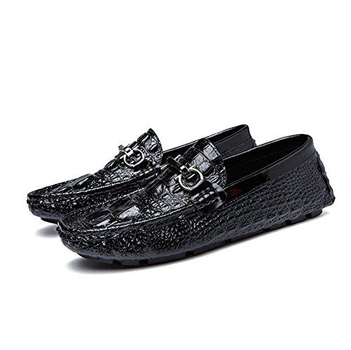 Tamaño al Blanco Zapatos Frijol Ocio Zapatos cocodrilo de 40 Tendencia Libre Conducción Perezosos HAOYUXIANG Zapatos Zapatos Aire de Cuero Masculinos Británico Negro Color Rwqcf55gC