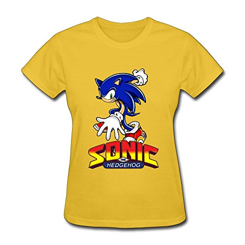 AOPO Sonic The Hedgehog ACT T-shirts For Women Large Yellow (Female Sonic The Hedgehog)