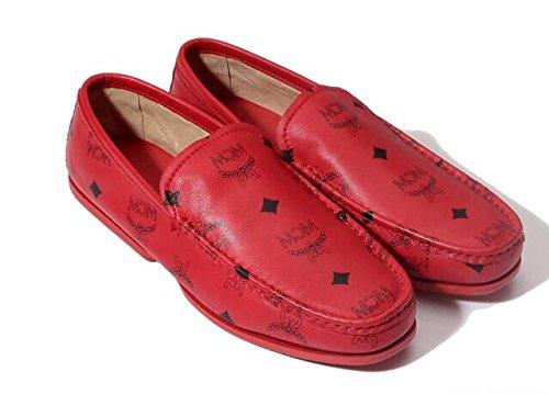 Happyshop (tm) Mens Casual Cuir Mode Mocassin Conduite Chaussure Sunmer Coloré Slip-on Mocassins Rouge