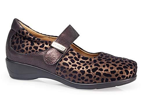 Mujer Ancho En De Cierre Casual 14 Leopardo Ligero Piel Y 0671 Velcro 14 Ortopedico Plantilla Marca Calzamedi Zapatos Marrón Detalle Merceditas Extraible Poliuretano Piso Horma qw0EE
