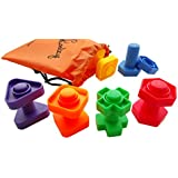 Jumbo Nuts and Bolts Set with Tote 12 Pc by Skoolzy - Occupational Therapy - Matching Fine Motor Toy for Toddlers Preschoolers - Free Activity Download
