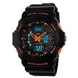 UKCOCO SKMEI 0955 Impermeable Unisex LED Digital Analógico Dual Time Display Reloj de Pulsera Deportivo con Fecha, Alarma, cronómetro, luz de Fondo para Hombres y Mujeres (Naranja)