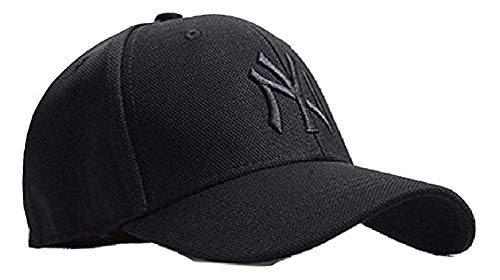 Buy MoohMaya Flexifit Stretchable Black NY Solid Caps for Men ... b1d3156d76e
