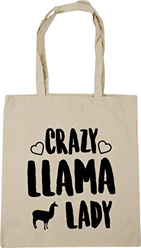 Tote Natural Gym 42cm x38cm Shopping 10 llama litres Beach HippoWarehouse Bag lady Crazy Fw76Xqxt