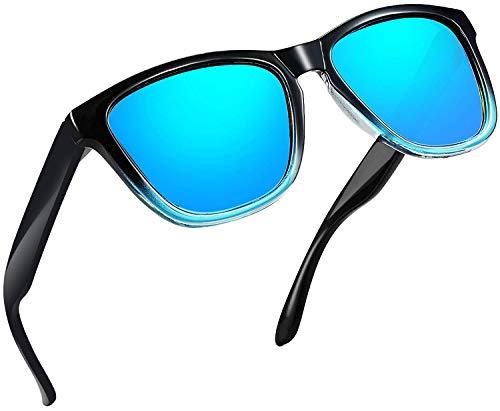 Joopin Unisex Polarized Sunglasses Classic Men Retro UV400 Brand Designer Sun glasses (Blue Amber)
