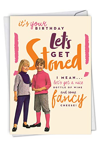 (Let's Get Stoned: Humorous Blank Birthday Greeting Card With a young boy and girl, with Envelope. C7027BDB)