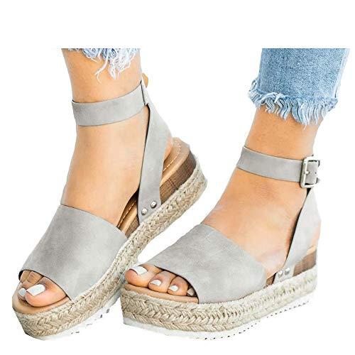Athlefit Women's Platform Sandals Espadrille Wedge Ankle Strap Studded Open Toe Sandals Size 6.5 Grey