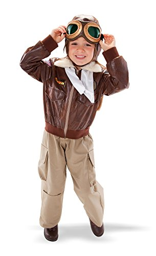 [TeeTot Aviator Pilot Costume Size 3-4 with Jacket, Pant, Helmet, and Airplane Goggles] (Girls Pilot Costumes)