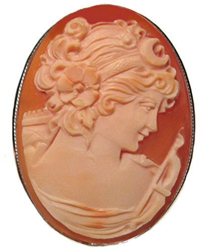 Goddess Diana Cameo Master Carved, Broach Pendant Conch Shell Italian Sterling Silver