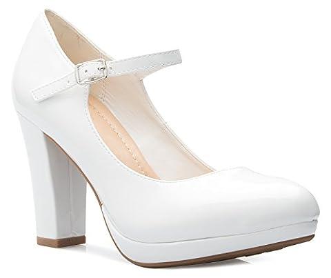OLIVIA K Women's Mary Jane High Heel - Cute Round Toe Block Heel - Classic Comfortable Easy Dress - Mary Jane Shoe Block Heel
