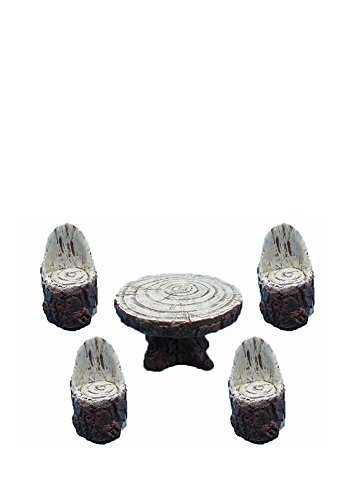 All Line Fairy Garden Wooden Table with 4-Chairs Figurines