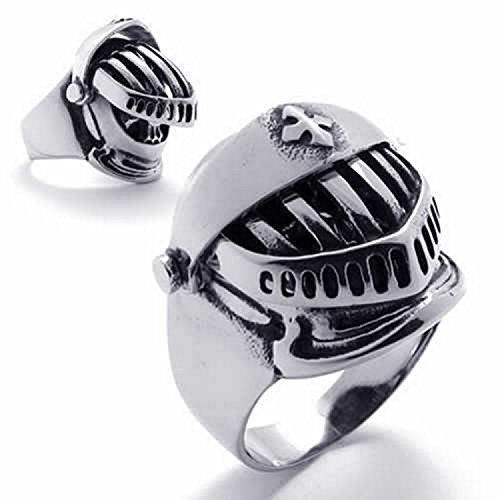 delatcha Jewelry Punk Accessories Titanium Stainless Steel Flyer's Knight Cavalier Helmet Women Men Ring Engagement Ring (Dark Knight Replica Costumes For Sale)