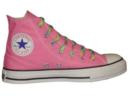 Converse Chuck Taylor All Star Hi Scarpe In Tela Rosa Con Un Paio Di Lacci Multicolore Per Uomo 12
