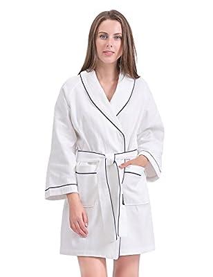 Sanli Women Cotton Waffle Robe, Soft Short Kimono Spa Bathrobe