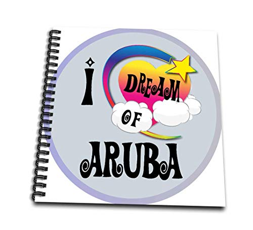 (3dRose Cute Girly Heart Star Clouds I Dream of Aruba-Memory Book, 12 by 12