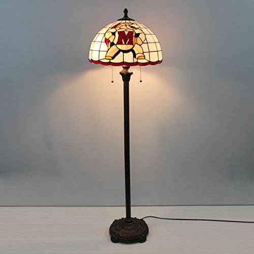 Gweat 16-inch NCAA Maryland Terrapins Stained Glass Floor Lamp -