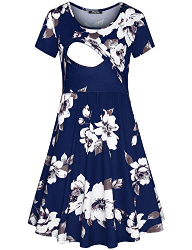 Quinee Nursing Dresses for Women Breastfeeding, Mother Floral Pattern Round Neck Double Layers Empire Waist Mid Length Casual Summer Blue Maternity Dress for Baby Shower M