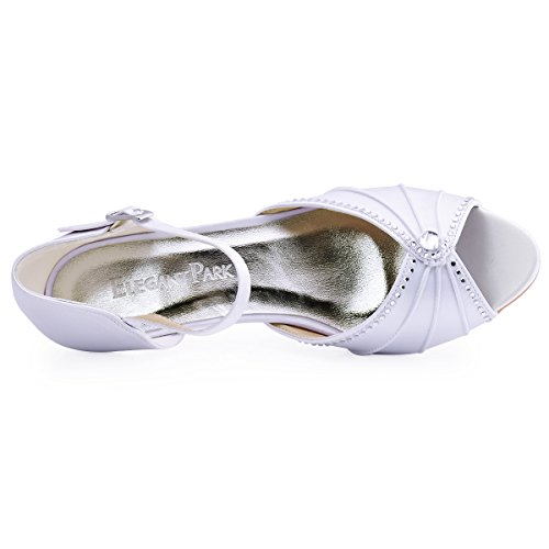 ElegantPark HP1623 Women's Sandals Peep Toe Mid Heel Pumps Pleated Rhinestones Satin Evening Wedding Party Shoes Photo #5