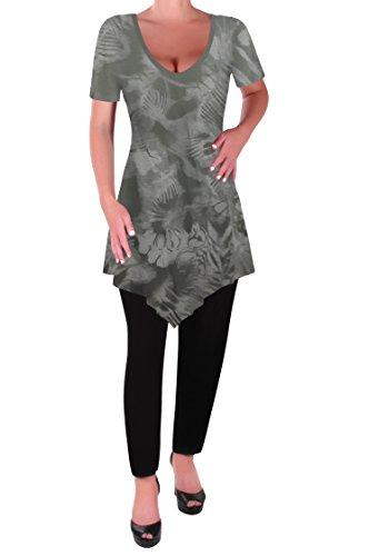 Tunique Khaki Ourlet Chemisier Shirt Dye Myst Femmes T Tops Tye Keira Col Eyecatch Evas Aux V En Light Dames UFwFYq