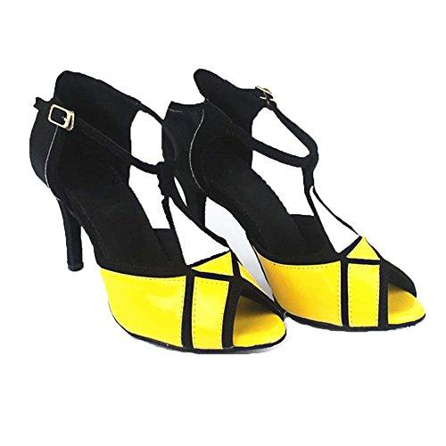 GUOSHIJITUAN Mujer S Zapatos De Baile Latino,PU Fondo Blando Tacón Alto Rumba GB Zapatos De Baile Social Sandalias De Interior A