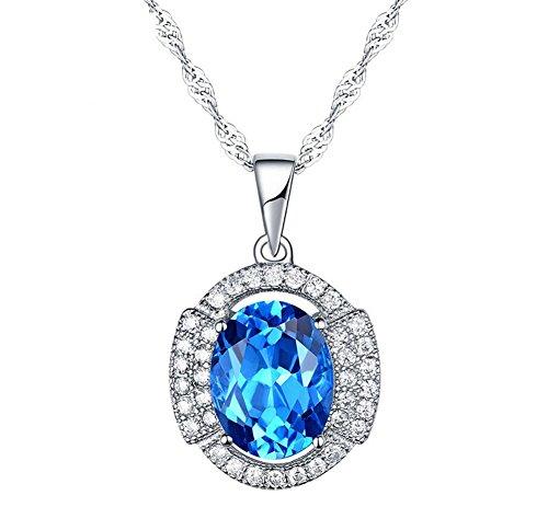 Vormor Ensemble chaîne+pendentif en argent sterling925avec topaze Bleu suisse