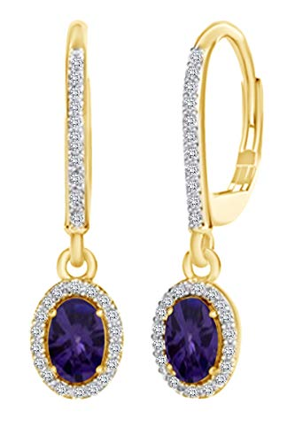 Christmas Sale Oval Cut Simulated Alexandrite with Diamond Halo Drop Earrings in 10K Solid Yellow Gold (1.49 Cttw)