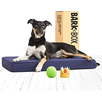 BarkBox Memory Foam Dog Bed | Plush Orthopedic Joint Relief Mattress Machine Washable + Removable Cover; Water Resistant Lining, Includes Squeaker Toy | Medium | Blue