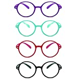 Jangona 4 Pairs Round Frame Reading Glasses TR90 Resin Lens Clear Vison Classic Style Suitable for Any Face Shape for Unisex 1.0 1.5 2.0 2.5 3.0 3.5 4.0