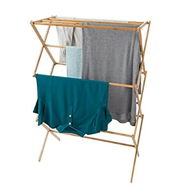 Lavish Home 83-68 Bamboo Clothes Drying Rack - BAMBOO CONSTRUCTION- Made from sturdy bamboo, this clothing rack is durable and bacteria resistant. It's also conveniently collapsible with an accordion design so that it folds flat, making it compact and easy to store when not in use. INDOOR/OUTDOOR USE- Suitable for inside or outside use, this drying rack can be utilized in your bathroom, laundry room, or on your balcony; it's ideal for homes with limited space like dorms, condos or apartments. STURDY AND STABLE- Lightweight and portable, yet strong enough to hang many pieces at once, this rack is a sturdy, long lasting item. It's ideal for drying any clothes, hand washed delicates, towels, blankets, shoes, and more! - laundry-room, entryway-laundry-room, drying-racks - 41jVjMf0OyL. SS400  -