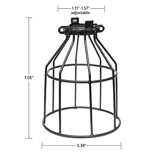 Metal Bulb Guard, Clamp On Steel Lamp Cage for Hanging Pendant Lights, Ceiling Fan Light and Vintage Lamp Holders,Open Style Black Industrial Wire Iron Bird Cage,4-Pack, by Seaside Village by Seaside village (Image #1)