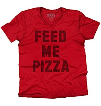 Brisco Brands Feed Me Pizza Funny Shirt | Eat Pepperoni Couch Potato Lazy V-Neck T-Shirt