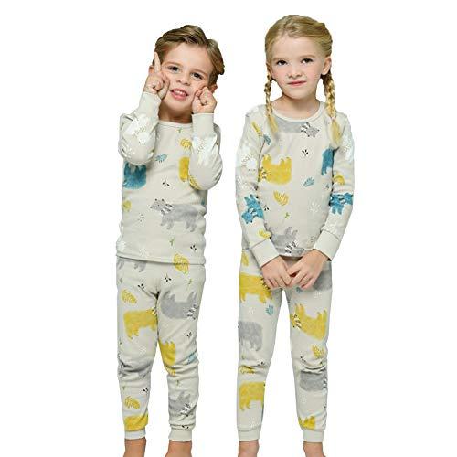 Torybam Cotton Thermal Underwear Pajamas Set for Kids Little Boys Girls Toddler Bear 2 Years - XS