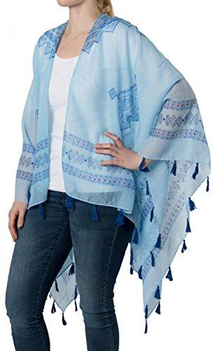 styleBREAKER - Poncho - capa - Básico - Sin mangas - para mujer azul claro