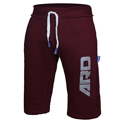 ARD CHAMPS Mens Cotton Fleece Shorts Jogging Casual Home Wear MMA Boxing Martial Art Jogger (S-XXL) (Maroon, Medium)
