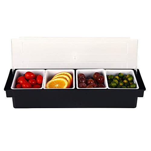 Condiment Garnish Holder - Plastic Condiment Holder 4 compartment,Ice Cooled Condiment Serving Container Chilled Garnish Tray Bar Caddy for Home Work or Restaurant - CDMH0001 (Black) -