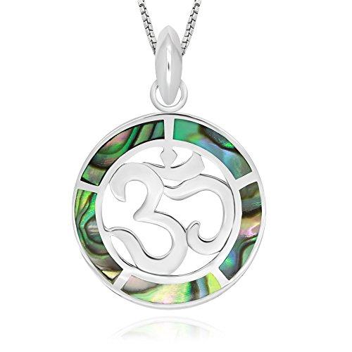 925 Sterling Silver Abalone Shell Chakra Yoga Om Aum Ohm Symbol Pendant Necklace, 18