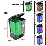 NYKK-Papeleras-Doble-Papelera-de-Reciclaje-Compartimiento-Doble-Bote-de-Basura-OficinaExterior-Jardin-de-la-Basura-de-plastico-Puede-de-30-litros-79-galones-Capacity-40L-Color-Brown