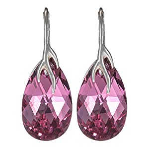 Crystal Diva Women's Silver Pink Swarovski Elements Earrings