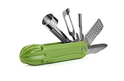 Ultimate Outdoors Cooking Tool, 6-in-1 Multitool for Camping, Boating, Hiking - Contains Knife, Peeler, Corer, Grater, Pitter and Reamer