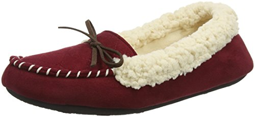 10604 Memory Chaussons Femme Bas Microsuede Tab with Red Quilted and MOC Cabernet Foam Dearfoams 1OYx6nx