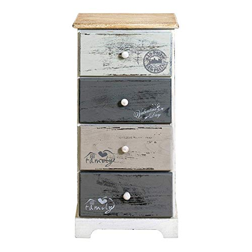 Rebecca Mobili Cajonera 4 cajones, mesilla de noche vintage, para dormitorio baño, madera de paulownia, blanco gris - Medidas: 75 x 35 x 29 cm (...