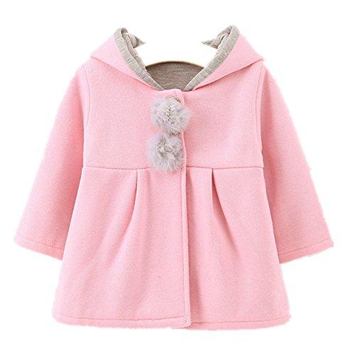 FTSUCQ Girls Baby Kids Hooded Coat Jacket Outwear Hoodies,Pink 80