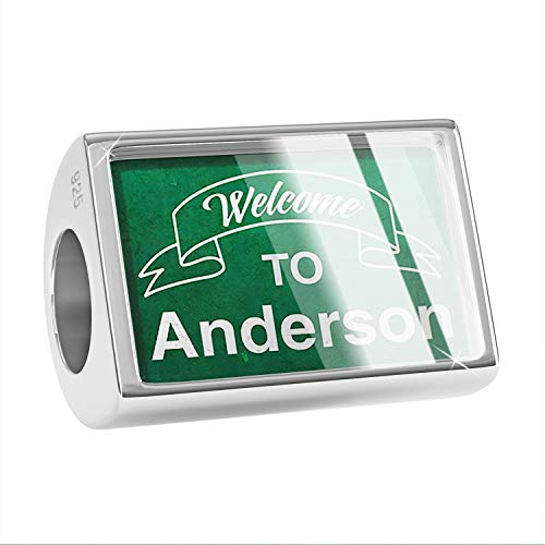 NEONBLOND Charm Green Sign Welcome to Anderson 925 Sterling Silver Bead ()
