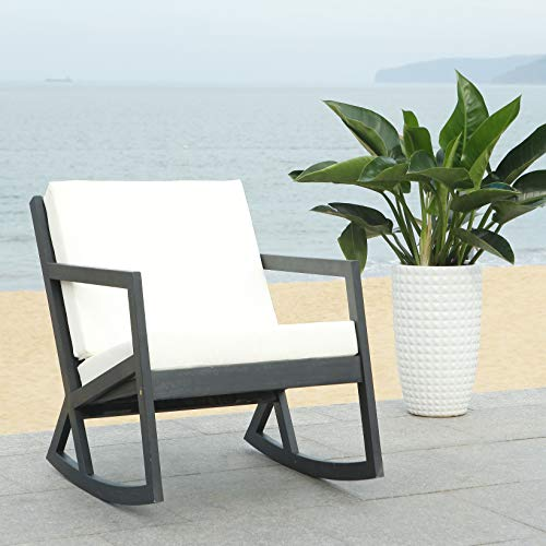 Safavieh PAT7013F Outdoor Collection Vernon Black and White Rocking Chair (Chairs Target Rocking Outdoor)