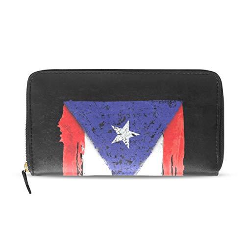 Wallet Long Clutch Puerto Rico Flag III - Card Holder Organizer, PU Leather Zipper Purse for Men Women