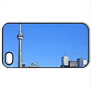 The tower - Case Cover for iPhone 4 and 4s (Skyscrapers Series, Watercolor style, Black)