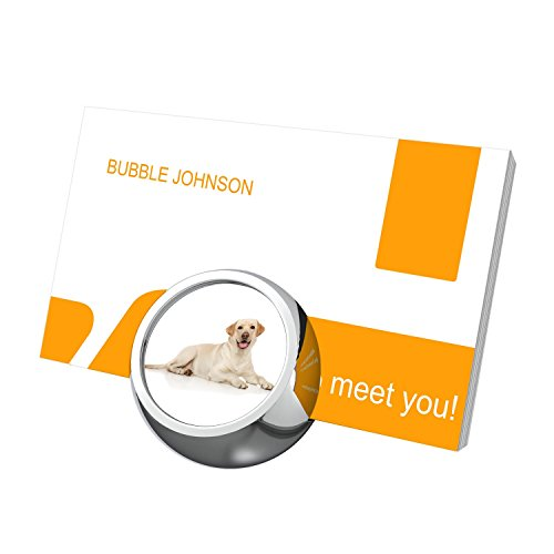 Dog Lover Business Card Holder Desk Display Stand, Customized Design Stainless Steel Name Card Holder for Men and Women, Silver